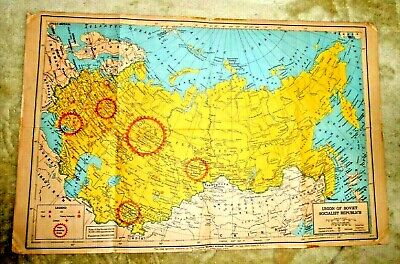 VINTAGE LARGE WALL MAP SOVIET UNION HEAVY INDUSTRIES OIL COAL  RAILROADS c.1950