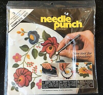 Vtg 1977 Needle Punch Tool Set Embroidery Tool 3 Sizes Pattern Book New Sealed