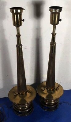 Vintage Pair STIFFEL Brass Column Table Lamps Brass Hollywood Regency MCM