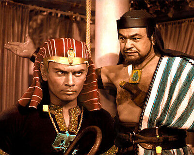 "YUL BRYNNER EDWARD G ROBINSON THE TEN COMMANDMENTS 8x10"" HAND COLOR TINTED PHOTO"