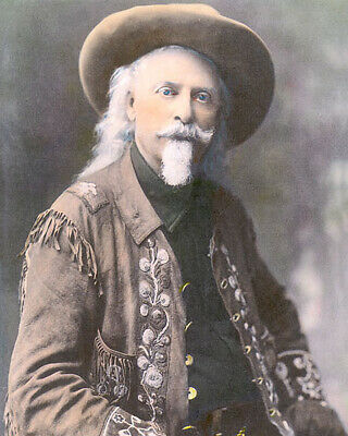 "BUFFALO BILL WILLIAM F CODY WESTERN LEGEND  8x10"" HAND COLOR TINTED PHOTOGRAPH"