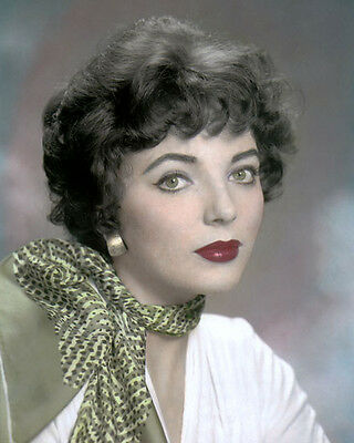 """JOAN COLLINS 1955 HOLLYWOOD MOVIE STAR ACTRESS 8x10"""" HAND COLOR TINTED PHOTO"""