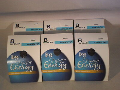Lot Of 6 Leggs Pantyhose Sheer Energy Size B Off Black                      SE3