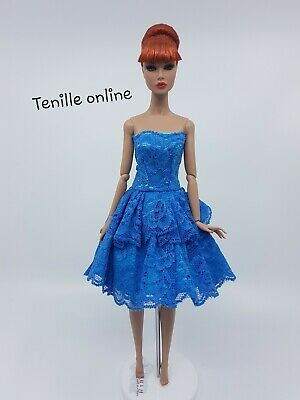 New Barbie clothes outfit princess wedding dress cocktail short fancy blue