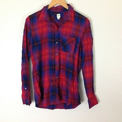 c6b8b326 OLD NAVY* NWT NEW plaid Flannel Blue Gray REd Button Down Shirt Size ...