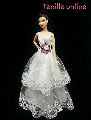 New Barbie clothes outfit princess wedding dress gown white lace flower