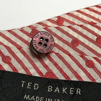 46f385a13505 Mens TED BAKER Tie Lapel Pin BURGUNDY RED Mother Pearl Shirt Buttons Gift  Ideas