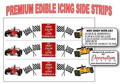 Formula 1 Mix ICING SIDE STRIP Edible Cake Decoration Birthday Party Fathers Day