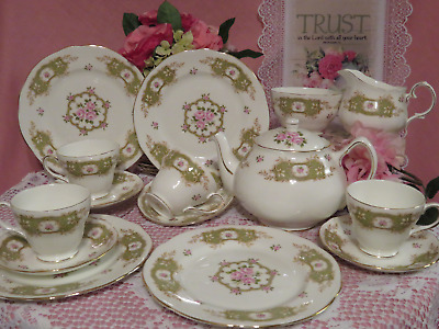 Duchess Pink Roses Teapot, Teacups, Saucers, Plates, S&C Granville made England