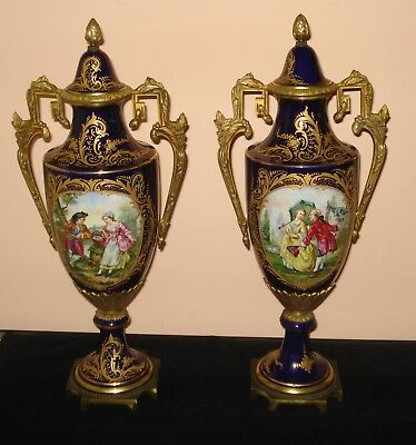 "Antique 19Th C Pair Of French Sevres Urns Ormolu Porcelain 20.75"" Signed Granet"