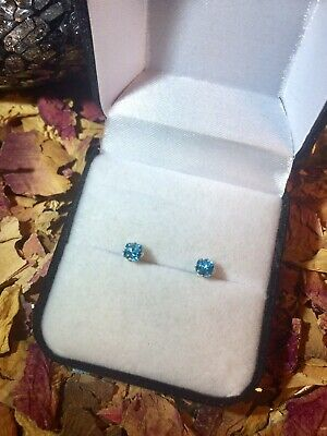 Flawless natural Blue Zircon 4mm cushion facet sterling silver stud earrings🐬
