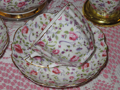 Pink Rose Chintz Tea cup(s) + Saucer(s) Scalloped Victoria Bone China England