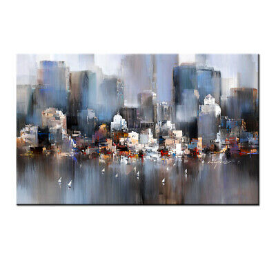 Large Wall Art Modern Contemporary Abstract City Oil painting Decor On Canvas
