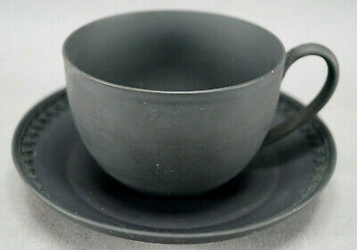 Wedgwood Early to Mid 19th Century Black Basalt Jasperware Tea Cup & Saucer