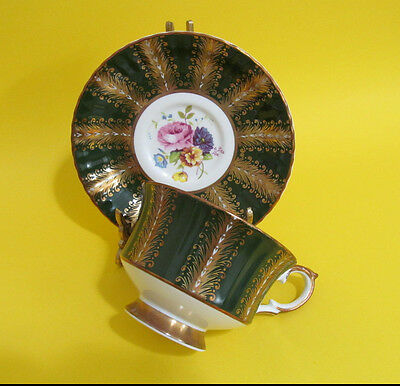 Paragon Tea cup and Saucer Green and Gold Gilded Floral Pink Yellow Vintage