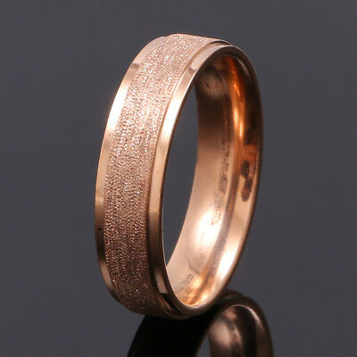 Men Women Stainless Steel Rose Gold Filled Band Ring Wedding Engagement Size 10