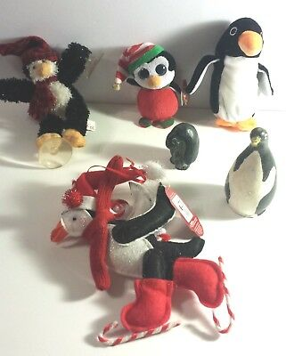 Penguin Lot of 6: Ganz 1996 carved + Ty Beanie Plush+ Skating Ornament + Window+