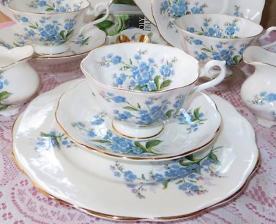 Royal Albert England ~ FORGET ME NOT ~ Cups, Saucers, Plates ~ Up to 5 sets EUC