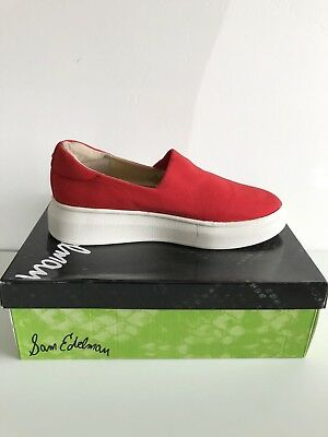 214d191aaccd SAM EDELMAN Women s Red White Slip-On Sneakers Size 8.5