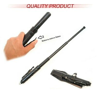 "20.5"" Black Automatic Expandable Solid Steel Baton With Sheath Heavy Duty New !"