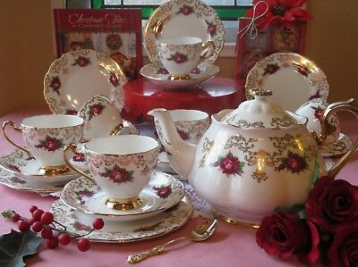 Red Roses Gold Filigree teapot, cups, saucers, plates) Bone china England
