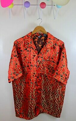 0eff735707af Vintage Street Culture Rayon Flames Shirt XL Button All Over Vans Golf Wang  90s