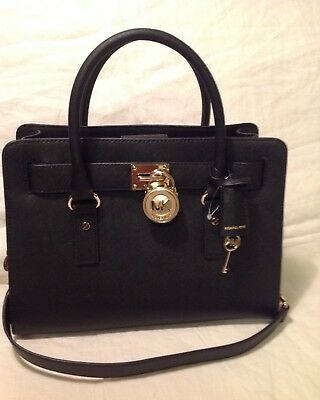 a3a5b4645984 NWT Michael Kors Hamilton Saffiano Black Leather Handbag EW Satchel MSRP.298