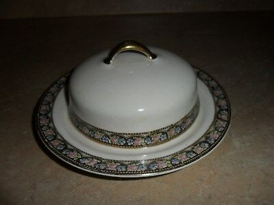 Vintage Rare Homer Laughlin Empress Covered Butter / cheese Dish/ Pink Rose Band