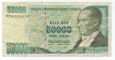 TURKEY 50,000 Lirasi 1970 / F Condition