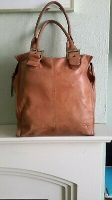Gigi Genuine Leather Large Tan Brown Double Compartement Tote Shopper Bag