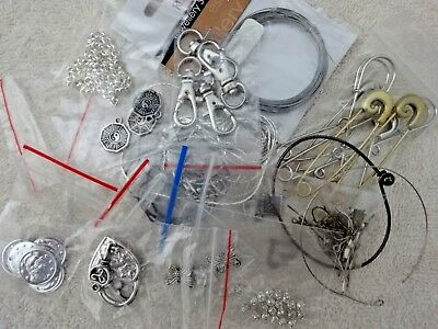 Jewellery lot charms tiger tail key ring silver