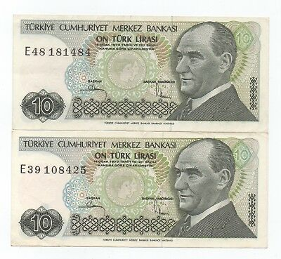 TURKEY 10 Lirasi x 2 pcs 1970 / EF Condition BARGAIN!