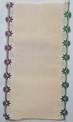 Antique Silk Ribbon Coupon Sample Florals  Ruffle Edge French 1800's #3