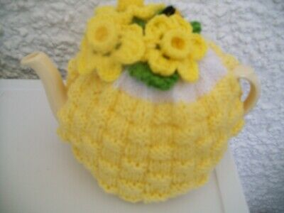Hand Knitted Daffodil Tea Cosy  For A Medium 3-4 Cup Teapot