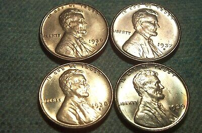 RARE MINT STATE 1936-S, 1937-S, 1938-S, and 1939-S RED original Lincoln Cents**
