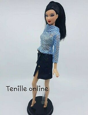 New Barbie doll clothes fashion outfit dress good quality pretty blue skirt
