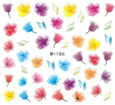 Nail Art Stickers Water Decals Transfers Bright Coloured Flowers (M+186)