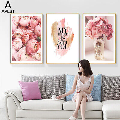Flower Pink Rose Women Girls Quotes Posters Prints Painting Canvas Living Room
