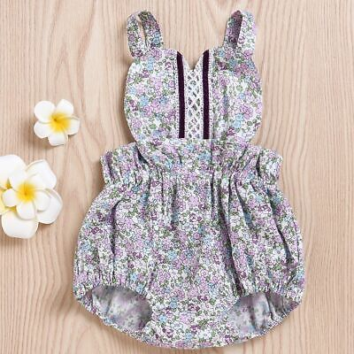 Clothing Baby Girls Romper Floral Print Backless Jumpsuit Newborn Bodysuit