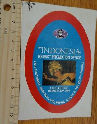 1 x INDONESIAN TOURIST PROMOTION OFFICE SYDNEY AUSTRALIA COLLECTABLE STICKER