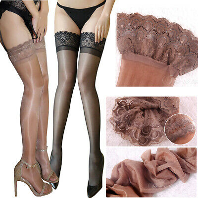 Women's Sheer Top Stay Up Thigh-High Stockings Pantyhose Tights Socks Peacock