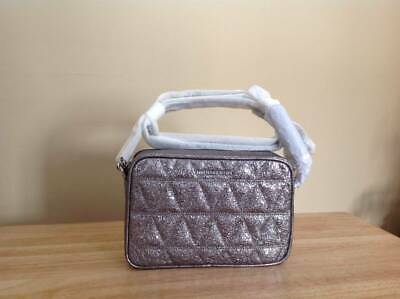 4b0631c8f592 Michael Kors Ginny Medium Quilted Leather Camera Bag Pewter Silver  228 NWT