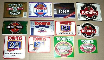 Collectable beer labels: Set of 12 assorted Tooheys beer labels