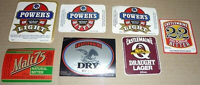 Collectable beer labels: Set of 7 Castlemaine / Powers beer labels (QLD)