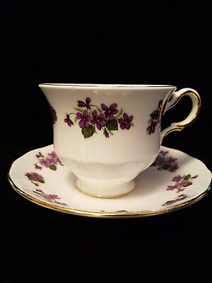 Queen Anne Fine English Bone China Cup & Saucer Violets