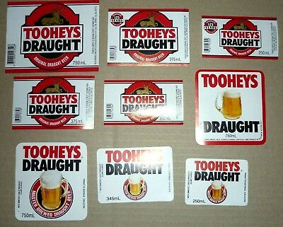 Collectable beer labels: Set of 9 Tooheys Draught beer labels