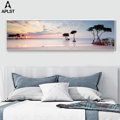 Sunset Seascape Posters Home Wall Art Picture Beach Long Canvas Prints Painting
