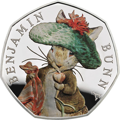 2017 UK 50p Benjamin Bunny Coloured Silver Proof Coin