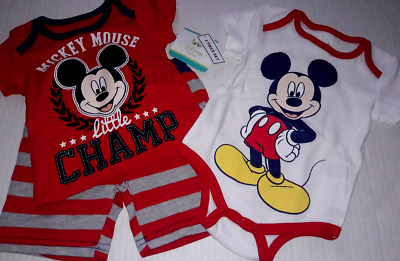 Disney Baby Mickey Mouse Body Suit Shirt & Shorts 3 pc Set Boy's 3-6 months New