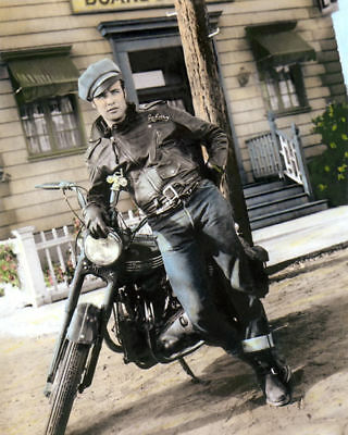 "MARLON BRANDO THE WILD ONE 1953 ACTOR MOTORCYCLE b 8X10"" HAND COLOR TINTED PHOTO"